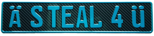 Carbon Fiber Plate with Teal Text